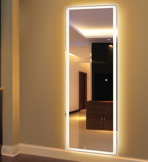 China Large Full Length Led Bathroom Mirrors Around Light Up Mirror For Makeup China Led Mirror Multi Function Mirror