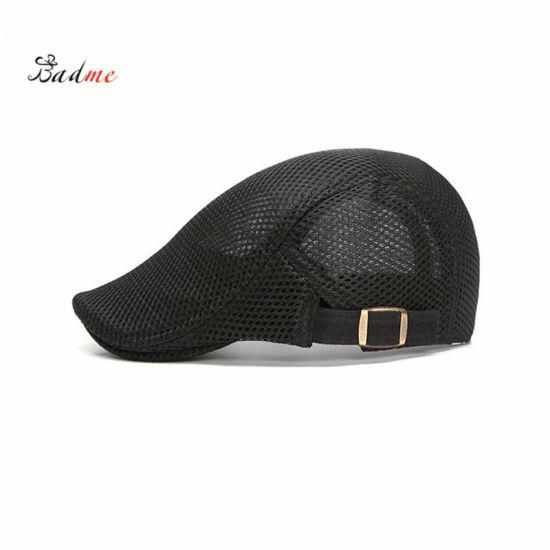 3eabbcaa10 China Men Summer Beret Cap Breathable Flat Hat Adjustable Newboy Hat ...