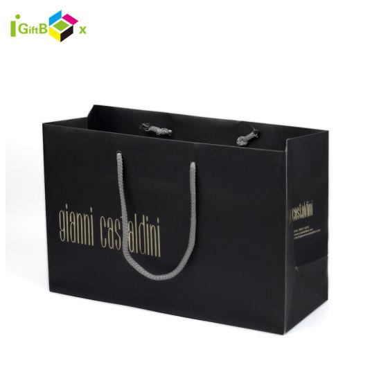 Custom Printed Black Paper Shopping Bag with Handles