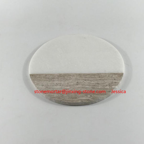 Round Two Tone Natural Marble Cutting Board /Chopping Block /Pastry  Board/Marble Cheese Board/2 Tone Board