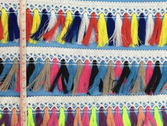 Wholesale Colorful Cotton Fringe Tassel for Lady′s Garment pictures & photos
