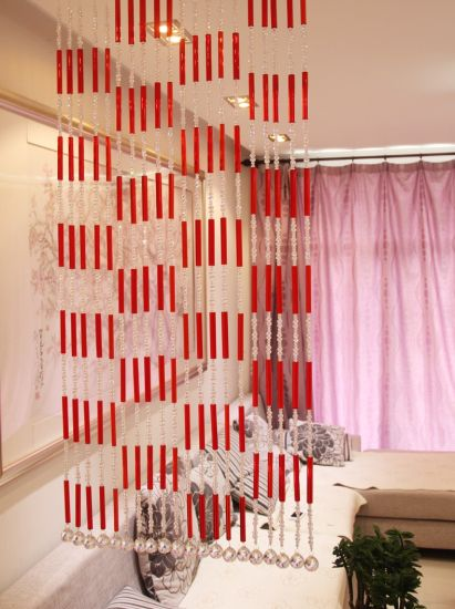 Decoration Material of Red Long Tube Curtain pictures & photos