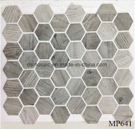 Newest Technology Full Body Wooden Hexagon Glass Mosaic pictures & photos