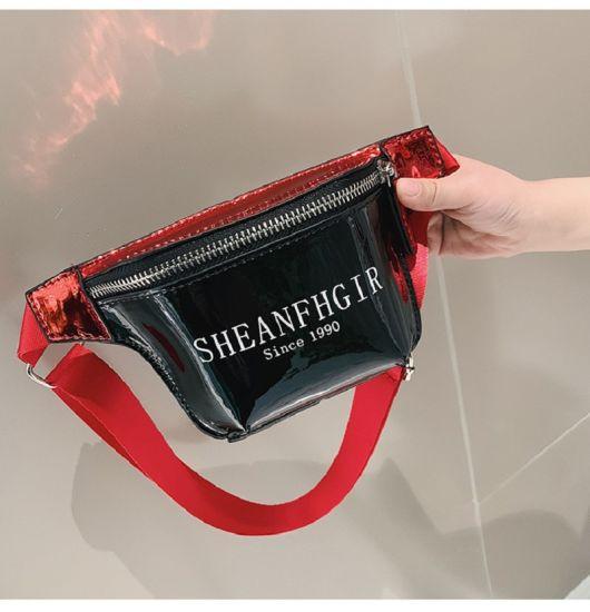 PU Laser Skin Atmosphere Oblique Satchel Personality Pocket Bag Crossbody Bag Waist Bag Esg13568