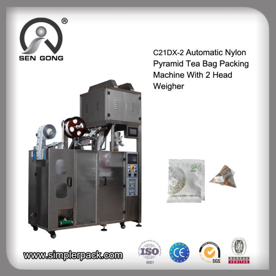 Automatic Nylon Triangle Tea Bag Sealing Packing Machine with Inner and Outer Envelop