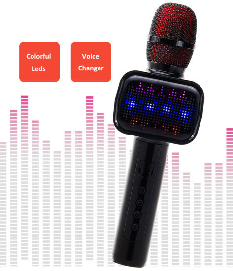 Handheld Karaoke Microphone with Flash Light pictures & photos