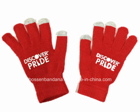 China Factory Produce Customized Logo Printed Red Acrylic Knitted Magic Touch Screen Gloves pictures & photos
