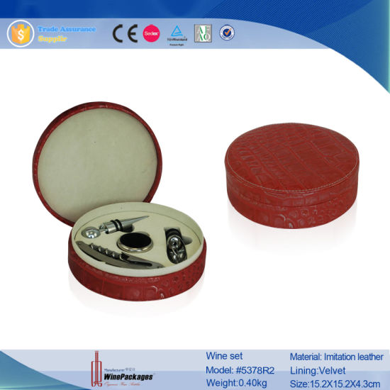 Wholesale Promotional Practical High Qiality Leather Wine Accessory Box (5378)