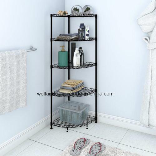 Nsf 5 Layers Powder Coated Black Metal Kitchen Bathroom Corner Storage Wire Shelf Rack Unit