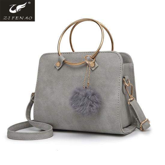 2018 Hot Ing Pu Leather Shoulder Bag With Metal Hoop Handle Guangzhou Factory Custom Handbags