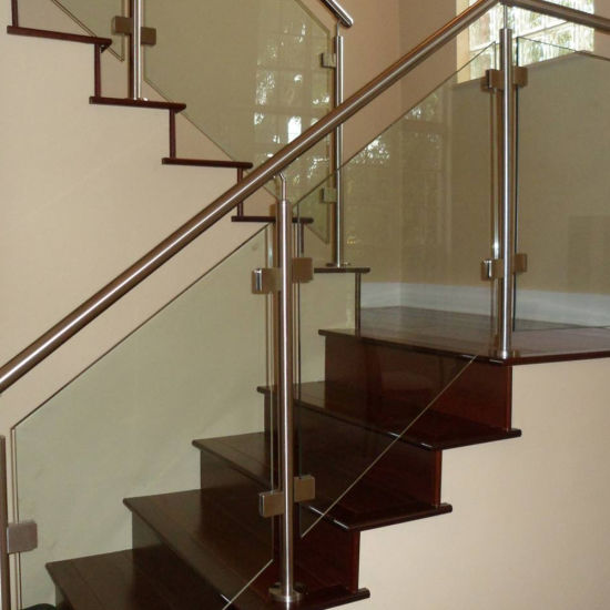 China manufacturer interior stainless steel glass stair railing china glass balustrade for Stainless steel railings interior