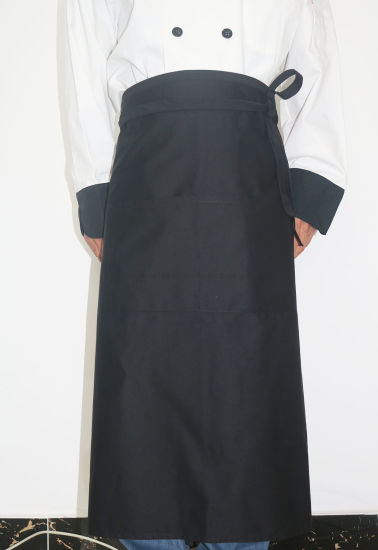 Kitchen Hotel Cooking Chef Bistro Black Long Waist Apron pictures & photos