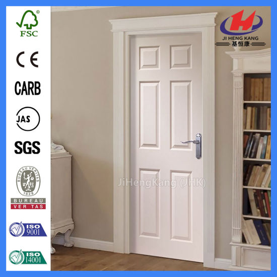6 Panel Interior Bathroom Molded Solid Wood White Doors (JHK 006)