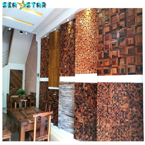 3D Decoration Materials Solid Wood Wall Panel Retro Design Cafe Decorative Board