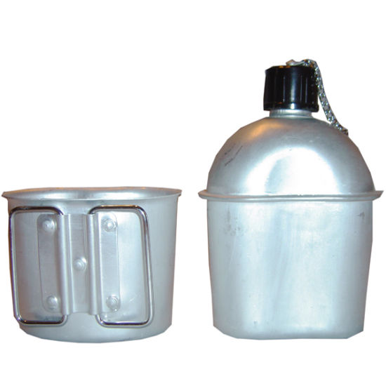 high quality aluminium military water bottle with mess tin canteen