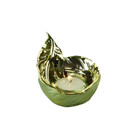 China Gold Candle Holder Feather Shaped Ceramic Candle Container