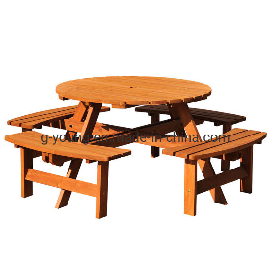 China Outdoor Wooden Round Picnic Table