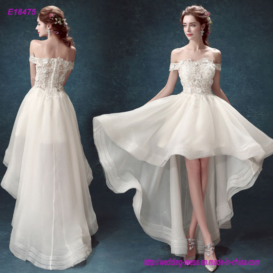 off-Shoulder Applique Lace Bodice Prom Dress with Flare Skirt pictures & photos