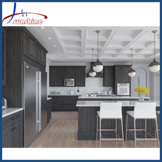 Gray Matt Lacquer European Style Bespoke Ready Assemble Kitchen Cabinet