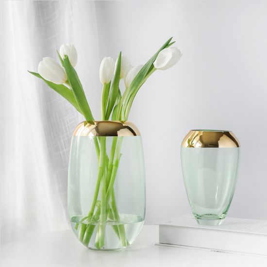 China Modern Minimalist Vases For Home Decor Classic Transparent Glass Flower Vase With Gold Edge Light Luxury Decoration Glass Vase China Glass Vase And Home Decor Price