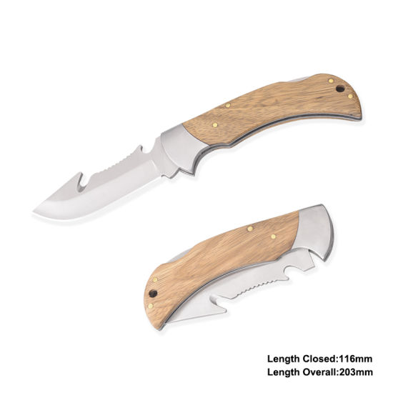 Folding Knife with Wooden Handle (#31063)