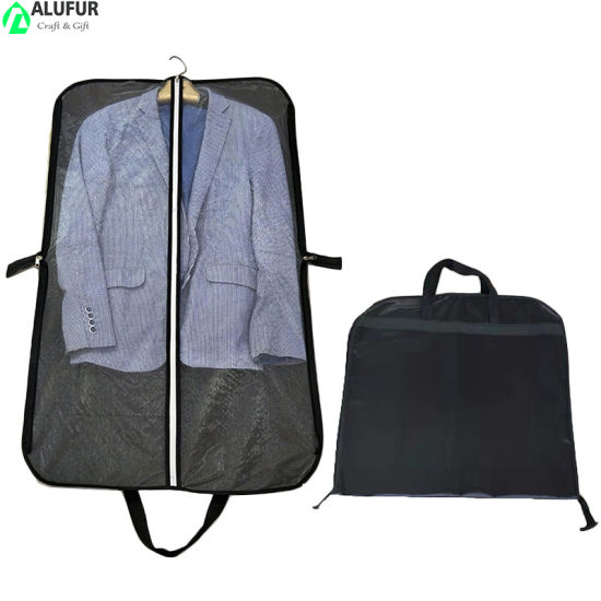 Mesh Suit Covers Carrier Bag with Handles Full Zipper for Travel and Storage