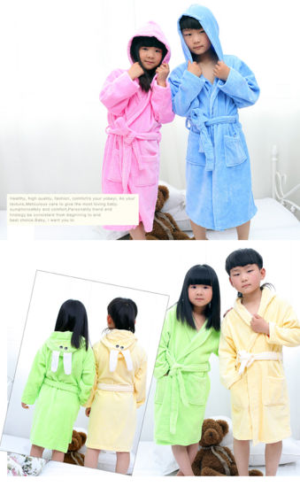 100% Cotton Terry Kids Cut Pile Baby Bathrobes pictures & photos