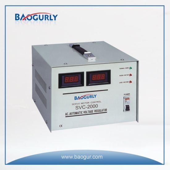 Single Phase Meter display SVC-2000va Servo Motor Voltage Stabilizer