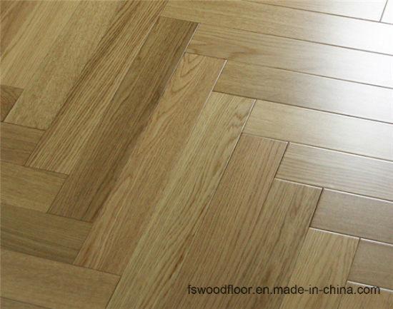 China Premier Uv Finished Solid Natural Oak Herringbone Hardwood