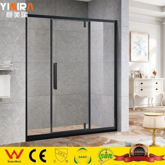 Black Framed Tempered Glass Pivot Door Shower Partitions