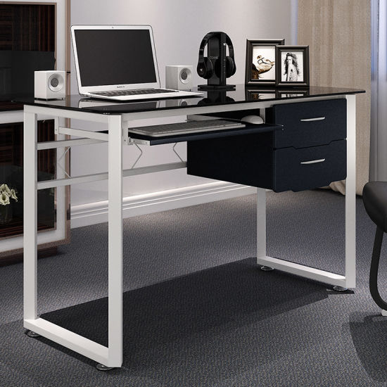 post glass home office desks. Home Office Furniture Glass Computer Desk For Study With Keyboard And Drawer Post Desks