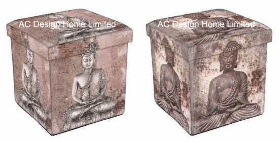 Antique Vintage Religion Design Square Cube PU Leather and Wooden Folding Storage Seat Ottoman Stool pictures & photos