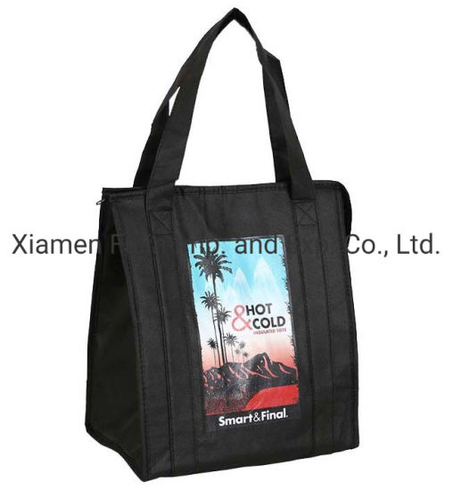 Folding Printed Recycle Wholesale Black PP-Non-Woven Tote Thermal Lunch Bag