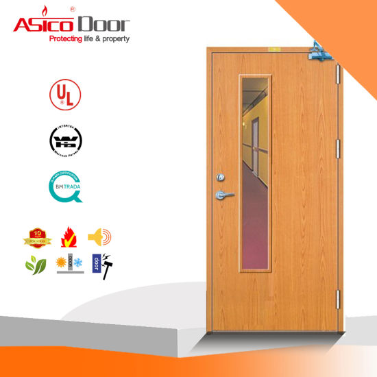 China Hot Design Interior Fireproof Fire Rated Solid Wood Door