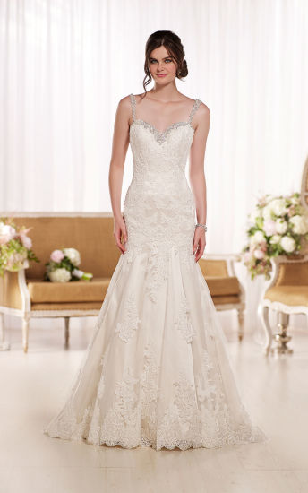 Open Back Lace Spaghetti Straps Mermaid Wedding Dress Bridal Dress