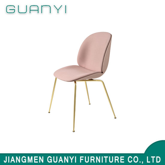 2018 Pink High Back Soft Foam Seat with Metal Leg Dining Chair