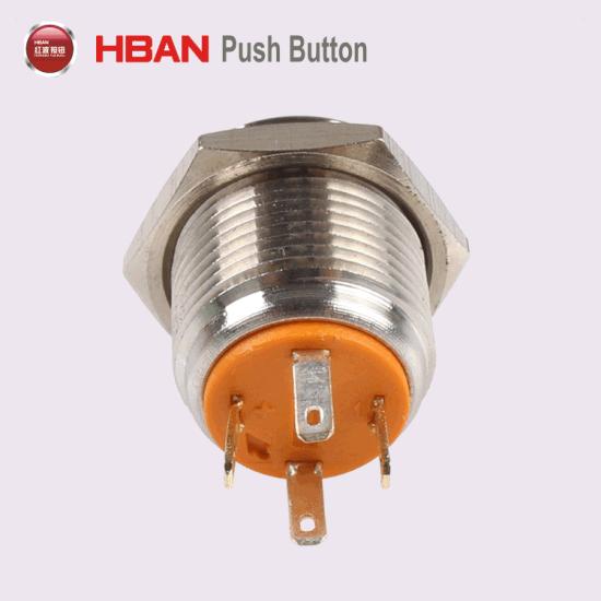 china 16mm waterproof ip65 ring led dual color momentary metal push