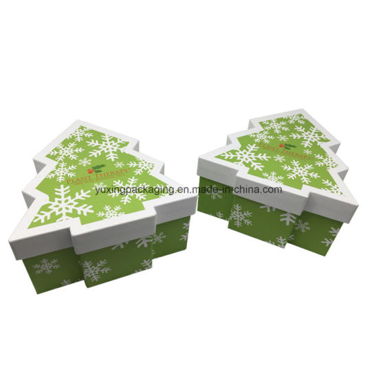 customized lid tree shape decorative christmas present boxes