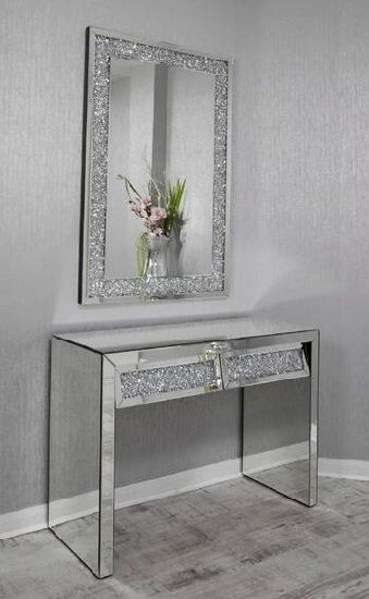 Modern Living Room Luxury Elegant Crystal Mirror Furniture with Console  Table