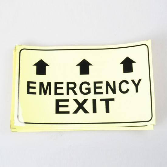 Aluminum Exit Sign Photoluminescent Glow in the Dark Interior Doors 12 X 7 Inch