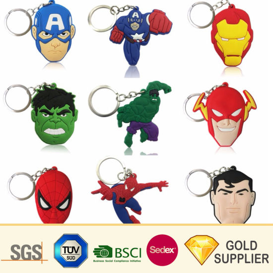Wholesale Custom Promotional Blank PVC Sport Keychain Plastic Multifunctional Car Logo Cartoon Anime Bottle Opener LED Souvenir Keyring for Advertising pictures & photos