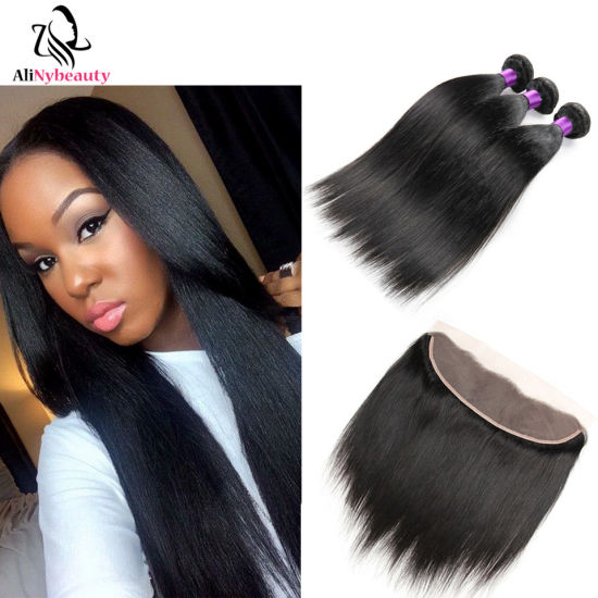 Alinybeauty Wholesale Brazilian Virgin Human Hair Bundles with Lace Frontal