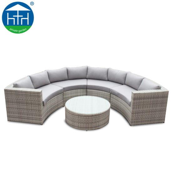Round Fan Shape Design Corner Sofa Set Rattan Furniture Outdoor Garden