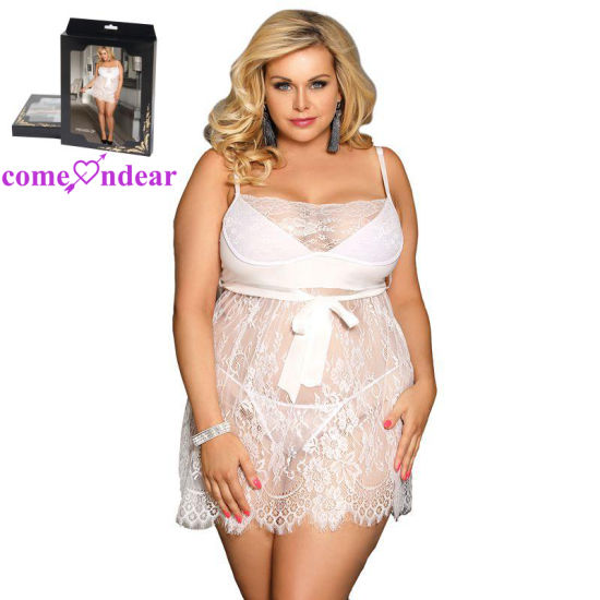 a099b4667aad4 China Plus Size White Lace Women Sheer Sexy Babydoll Lingerie ...