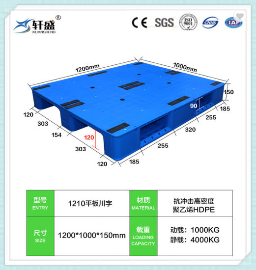 HDPE/PP Warehouse Storage Plastic Pallet with 3 Runners Back