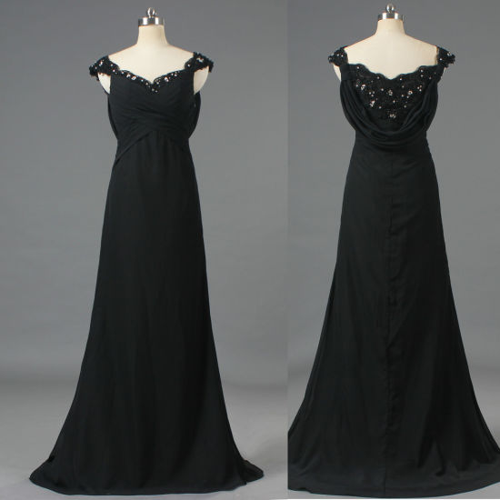 Formal Cap Sleeve Chiffon Evening Dress Long Mother of The Bride Gown E361