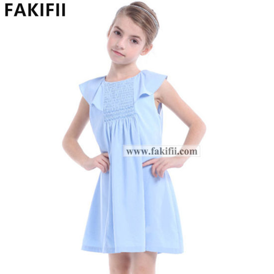 2020 Premium Quality Wholesale Baby/Children/Infant Garment Girl Blue Cotton Smocked Dress