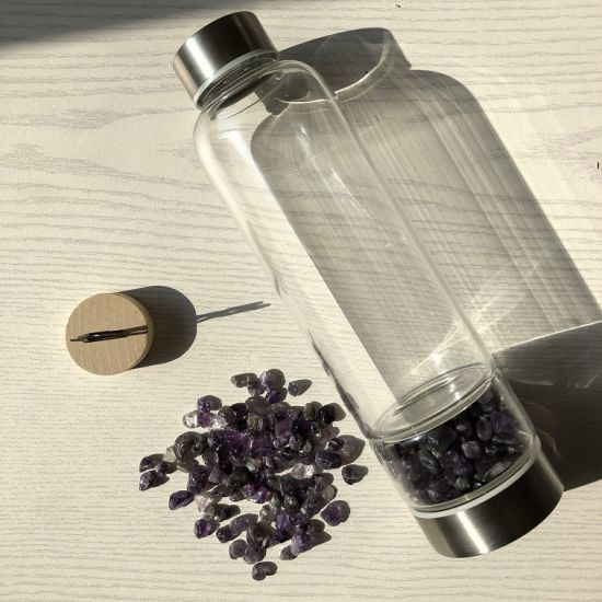 New Product 2020 Natural Clear Crystal Infused Water Glass Bottle with Protective Sleeve for Gym