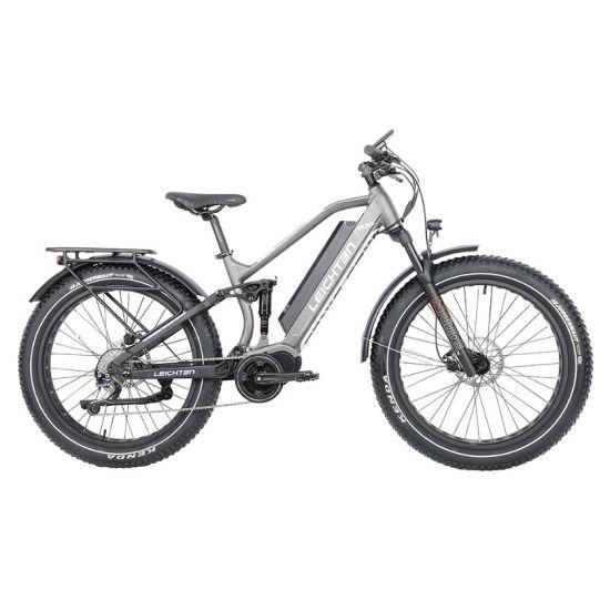 "Fat Tire E-Bike 350W/48V/16ah Alloy Aluminum Full Suspension MID-Driving 8 Gears Downhill Mountain Bike 26"" *4 E Bike Mountain"