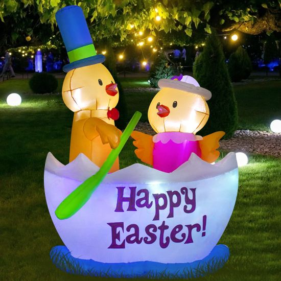 Easter Decroations Inflatable Chick on Boat Happy Easter Yard Home Decor